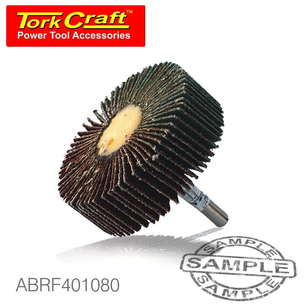 FLAP WHEEL 40 X 10 X 6MM SHAFT 80 GRIT PER EACH (500 PER BOX) - Power Tool Traders
