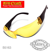 SAFETY EYEWEAR GLASSES YELLOW IN POLY BAG - Power Tool Traders