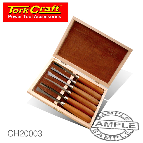 CHISEL SET WOOD CARVING 6 PIECE WOODEN BOX - Power Tool Traders