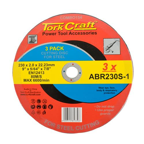 CUTTING DISC (3 PK) STEEL 230X2.0X22.23MM (ABR230S-1) - Power Tool Traders