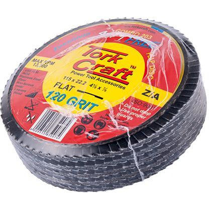 FLAP DISC ZIRCONIUM 115MM 120 GRIT FLAT 4+1 FREE - Power Tool Traders