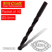 DRILL BIT HSS STANDARD 3.0MM PACKET OF 10 - Power Tool Traders