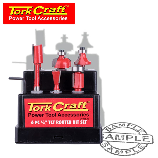 ROUTER BIT SET 6PC PLASTIC BOX 1/4 SHANK - Power Tool Traders