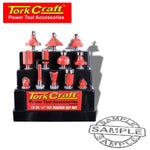 ROUTER BIT SET 12PC PLASTIC BOX 1/4 SHANK - Power Tool Traders