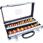 ROUTER BIT SET 24PIECE ALUMINIUM CASE GLASS WINDOW 1/4 SHANK - Power Tool Traders