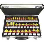 ROUTER BIT SET 35PIECE ALUMINIUM CASE GLASS FRONT 1/4 SHANK - Power Tool Traders