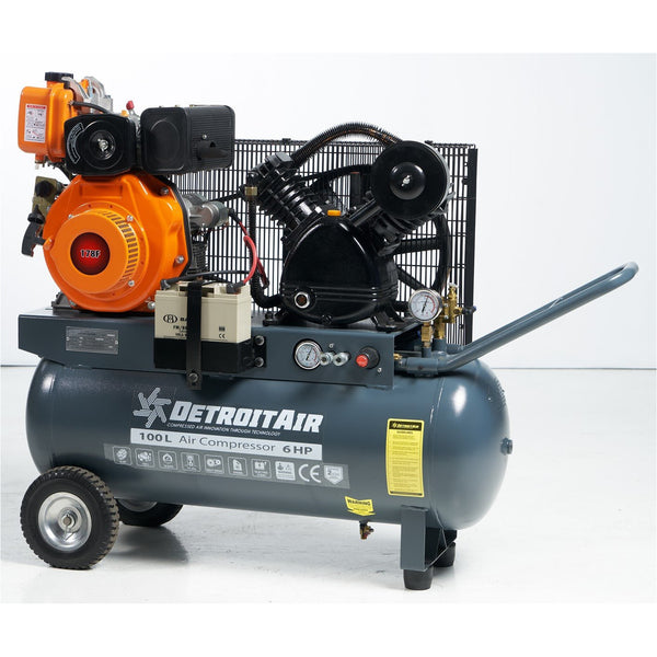 DETROIT PETROL ENGINE AIR COMPRESSOR 5.5HP 100L 10BAR 400LPM/14.2CFM - PULL START - Power Tool Traders