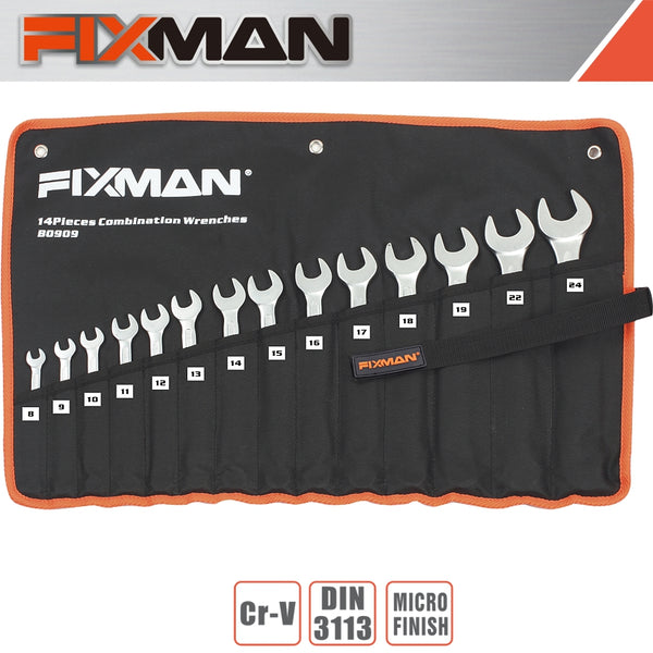 FIXMAN 14PCS COMBINATION SPANNER SET 8MM - 24MM - Power Tool Traders