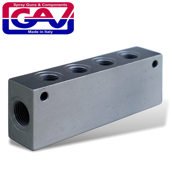 MANIFOLD BLOCK 1/4' WITH 6 PORTS EXTEND YOUR AIR POINTS - Power Tool Traders