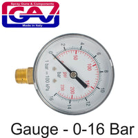 PRESSURE GAUGE 0-16BAR 1/4LOWER63MM PACKAGED - Power Tool Traders