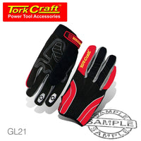 MECHANICS GLOVE MEDIUM SYNTHETIC LEATHER REINFORCED PALM SPANDEX RED - Power Tool Traders