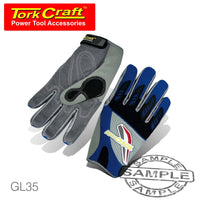 MECHANICS GLOVE 3XL LARGE SYNTHETIC LEATHER PALM AIR MESH BACK BLUE - Power Tool Traders