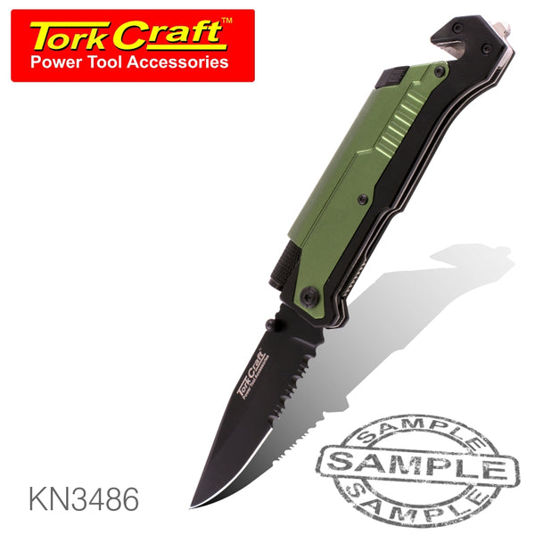 KNIFE SURVIVAL GREEN WITH LED LIGHT & FIRE STARTER IN DOUBLE BLISTER - Power Tool Traders