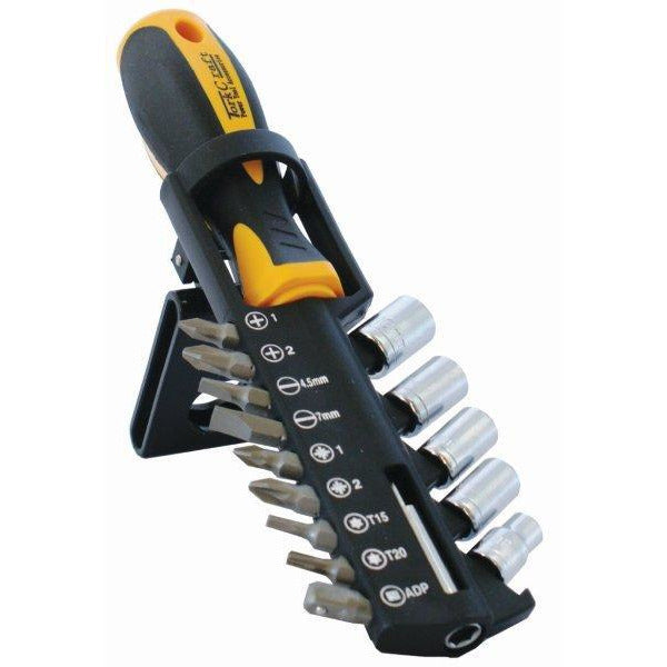 SCREWDRIVER SET 15PC WITH BITS SOCKETS AND BELT CLIP - Power Tool Traders