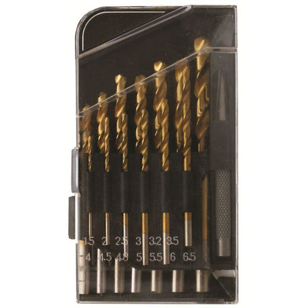 DRILL BIT SET 14PCE HSS GROUND TIN COATED & CENTRE PUNCH PLAST BOX - Power Tool Traders