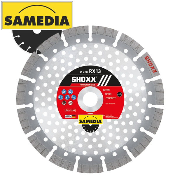 DIAMOND BLADE 230MM SEGMENTED IND REINF. CONCRETE SPEED CUT SHOXX RX13 - Power Tool Traders