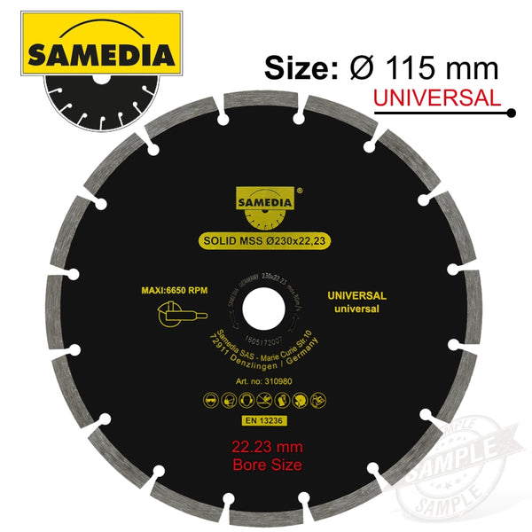 DIAMOND BLADE 115MM X 22.23 SEGMENTED IND MULTI PURPOSE SOLID MSS - Power Tool Traders