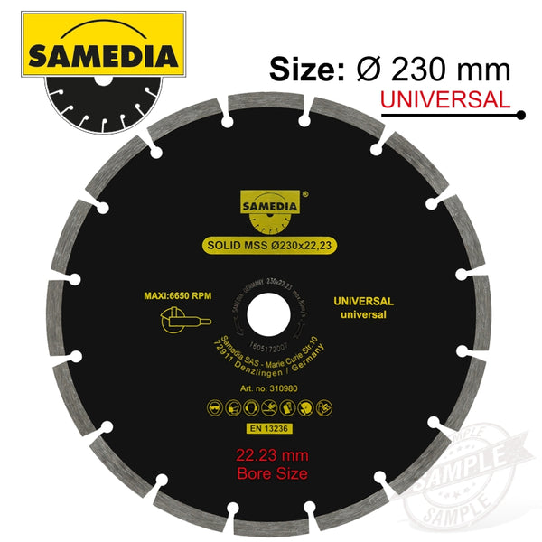 DIAMOND BLADE 230MM X 22.23 SEGMENTED IND MULTI PURPOSE SOLID MSS - Power Tool Traders