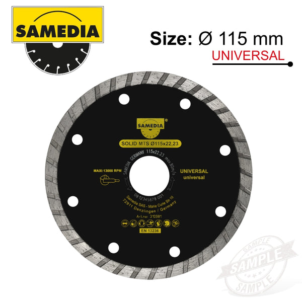 DIAMOND BLADE 115MM X 22.23 SEGMENTED IND MULTI PURPOSE SOLID MTS - Power Tool Traders
