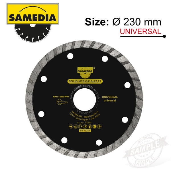 DIAMOND BLADE 230MM X 22.23 SEGMENTED IND MULTI PURPOSE SOLID MTS - Power Tool Traders