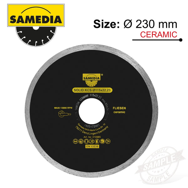 DIAMOND BLADE 230MM X 22.23 CONTINIOUS IND PORCELAIN & CERAMICS SOLID - Power Tool Traders