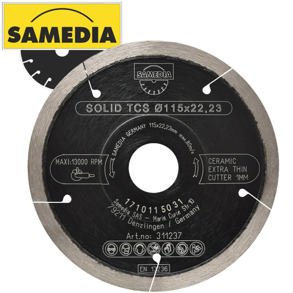 DIAMOND BLADE 115MM CONTINIOUS IND GENL. TILE THIN CUT SOLID TCS - Power Tool Traders