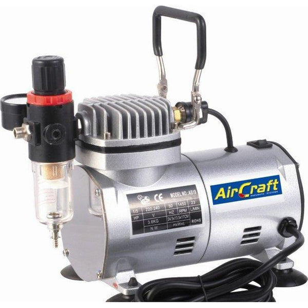 COMPRESSOR FOR AIRBRUSH 1 CYL. W/REG & FILTER (AS18-2) - Power Tool Traders