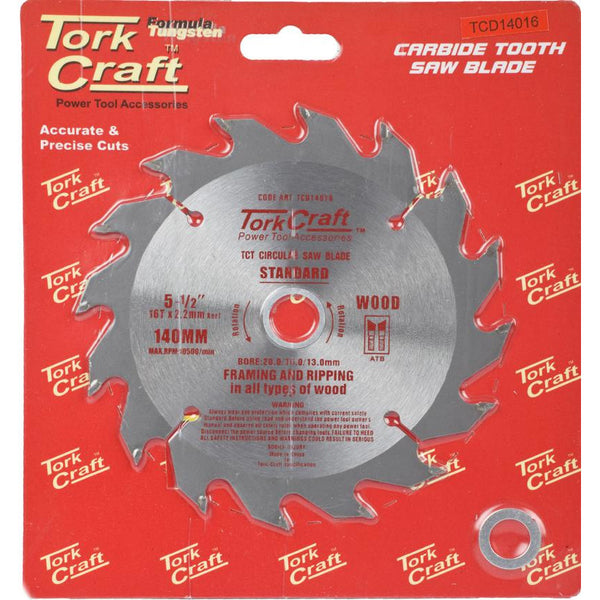 BLADE TCT 140 X 16T 20/16/13 GENERAL PURPOSE RIP WOOD - Power Tool Traders