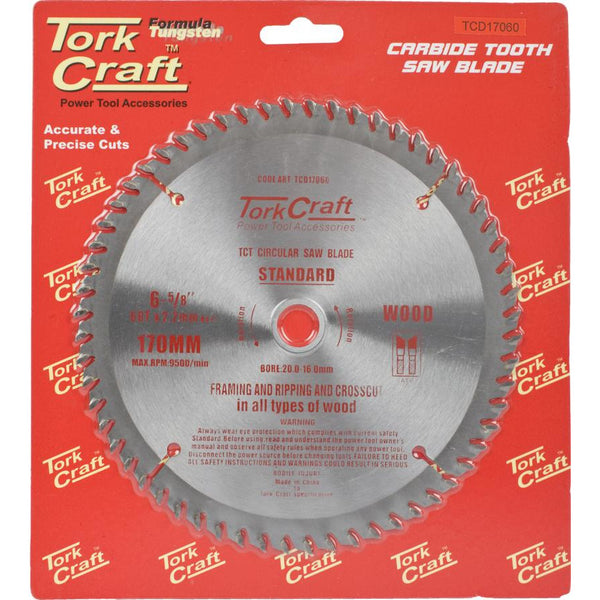 BLADE TCT 170 X 60T 20/16 GENERAL PURPOSE CROSS CUT - Power Tool Traders