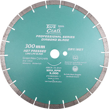 DIAMOND BLADE 300 x 25.4MM GREEN / NEW CONCRETE HOT PRESSED SEGMENTED - Power Tool Traders