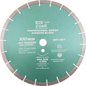 DIAMOND BLADE 300 x 25.4MM OLD CONCRETE HOT PRESSED SEGMENTED - Power Tool Traders