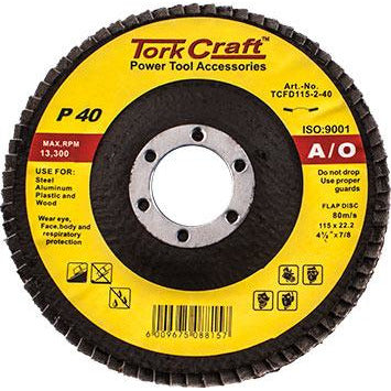 FLAP DISC 115MM 15 DEG.ANGLE 40GRIT - Power Tool Traders