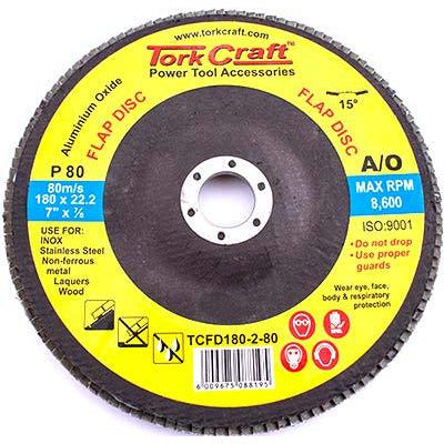 FLAP DISC 180MM 15 DEG.ANGLE 80GRIT - Power Tool Traders