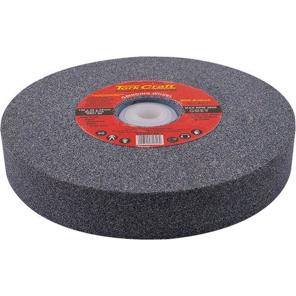 GRINDING WHEEL 150X25X32MM BORE FINE 60GR W/BUSHES FOR BENCH GRINDER - Power Tool Traders