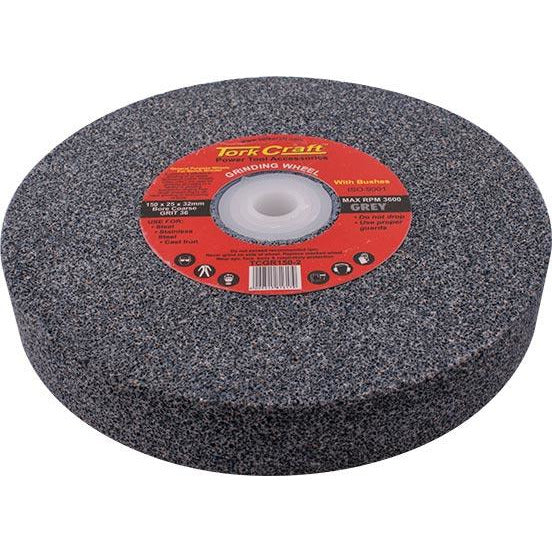 GRINDING WHEEL 150X25X32MM BORE COARSE 36GR W/BUSHES FOR BENCH GRINDER - Power Tool Traders