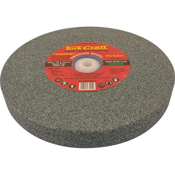 GRINDING WHEEL 200X25X32MM GREEN COARSE 36GR W/BUSHES FOR BENCH GRIN - Power Tool Traders