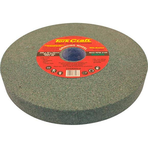 GRINDING WHEEL 200X25X32MM BORE FINE 60GR W/BUSHES FOR B/G GREEN - Power Tool Traders