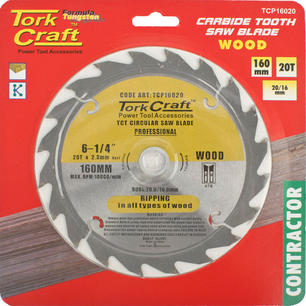 BLADE CONTRACTOR 160 X 20T 20/16 CIRCULAR SAW TCT - Power Tool Traders