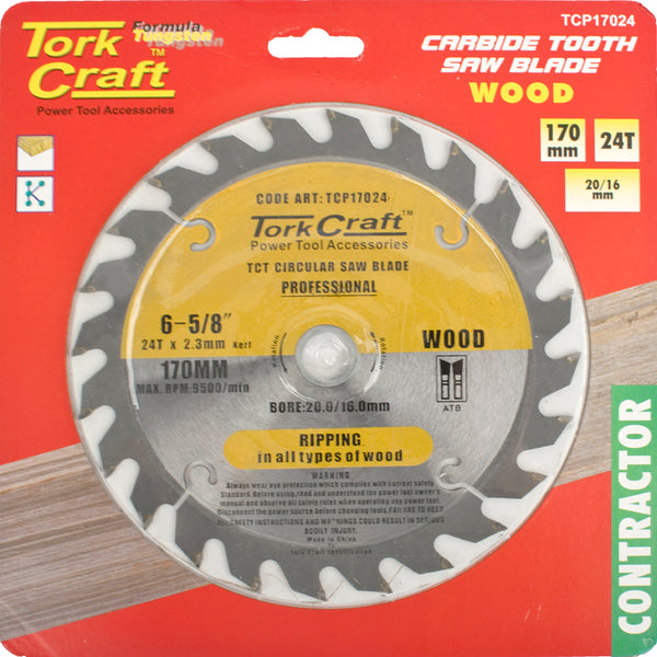 BLADE CONTRACTOR 170 X 24T 20/16 CIRCULAR SAW TCT - Power Tool Traders