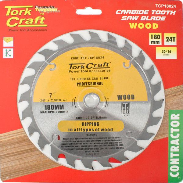 BLADE CONTRACTOR 180 X 24T 20/16 CIRCULAR SAW TCT - Power Tool Traders