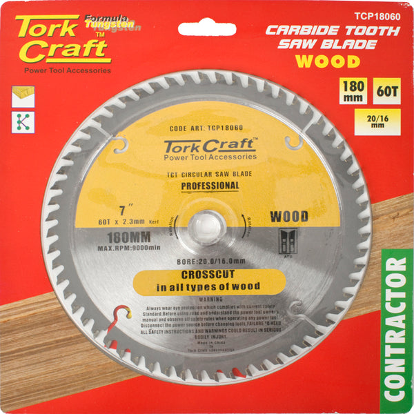 BLADE CONTRACTOR 180 X 60T 20/16 CIRCULAR SAW TCT - Power Tool Traders