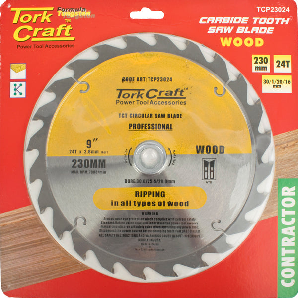 BLADE CONTRACTOR 230X24T 30/1/2 CIRCULAR SAW TCT - Power Tool Traders