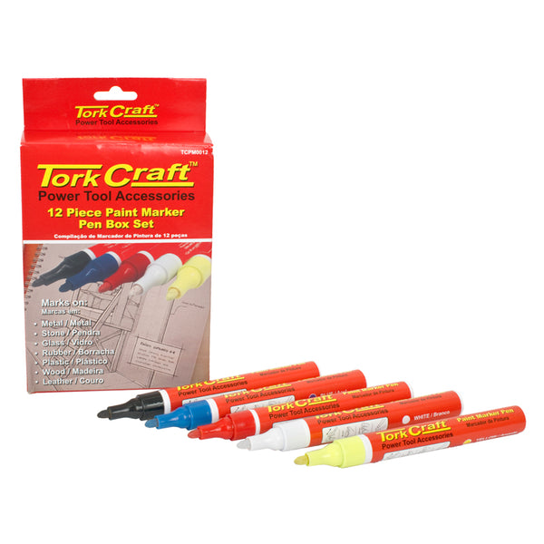 PAINT MARKER PEN 12PACK  RED/YEL/WHITE/BLACK/BLUE - Power Tool Traders