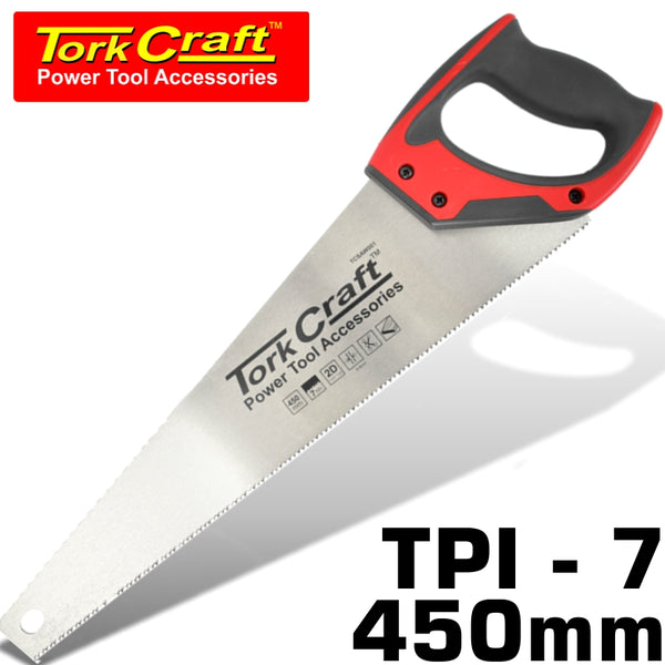 HAND SAW 450MM 7TPI 0.9MM TEMP. BLADE ABS HANDLE - Power Tool Traders