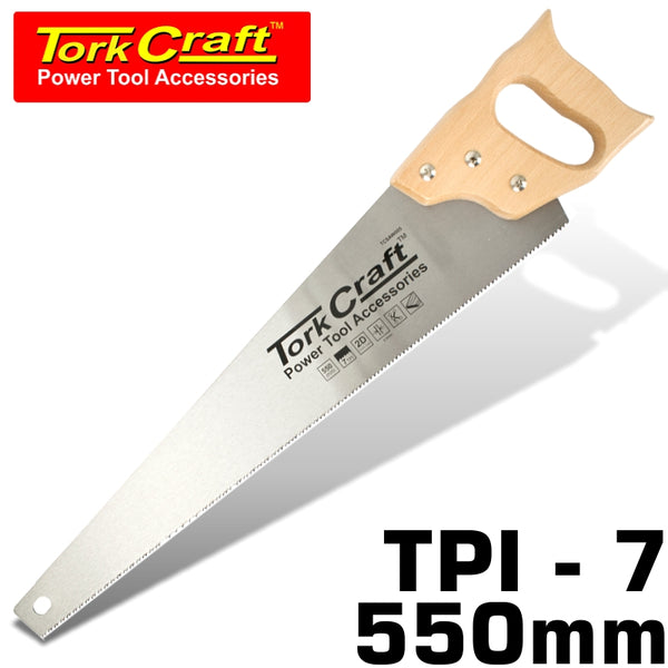 HAND SAW 550MM 7TPI 0.9MM TEMP. BLADE WOOD HANDLE - Power Tool Traders