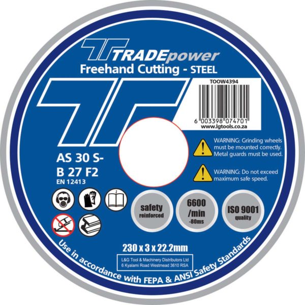 DISC CUTTING STEEL 230MM T/P - Power Tool Traders