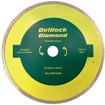 DIAMOND BLADE 230MM CONT. RIM DELROCK - Power Tool Traders