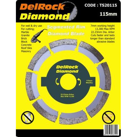 DIAMOND BLADE 115MM SEGMENTED DELROCK - Power Tool Traders