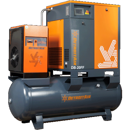 DB-15FF DETROIT AIR SCREW COMPRESSOR FULL FEATURE 15HP 64CFM ON 500L PRESSURE VESSEL INCLUDING DRYER