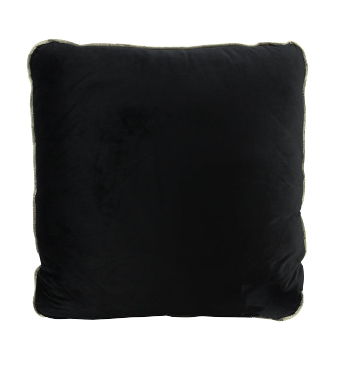 Piped Velvet Cushion | Black with Gold Trim